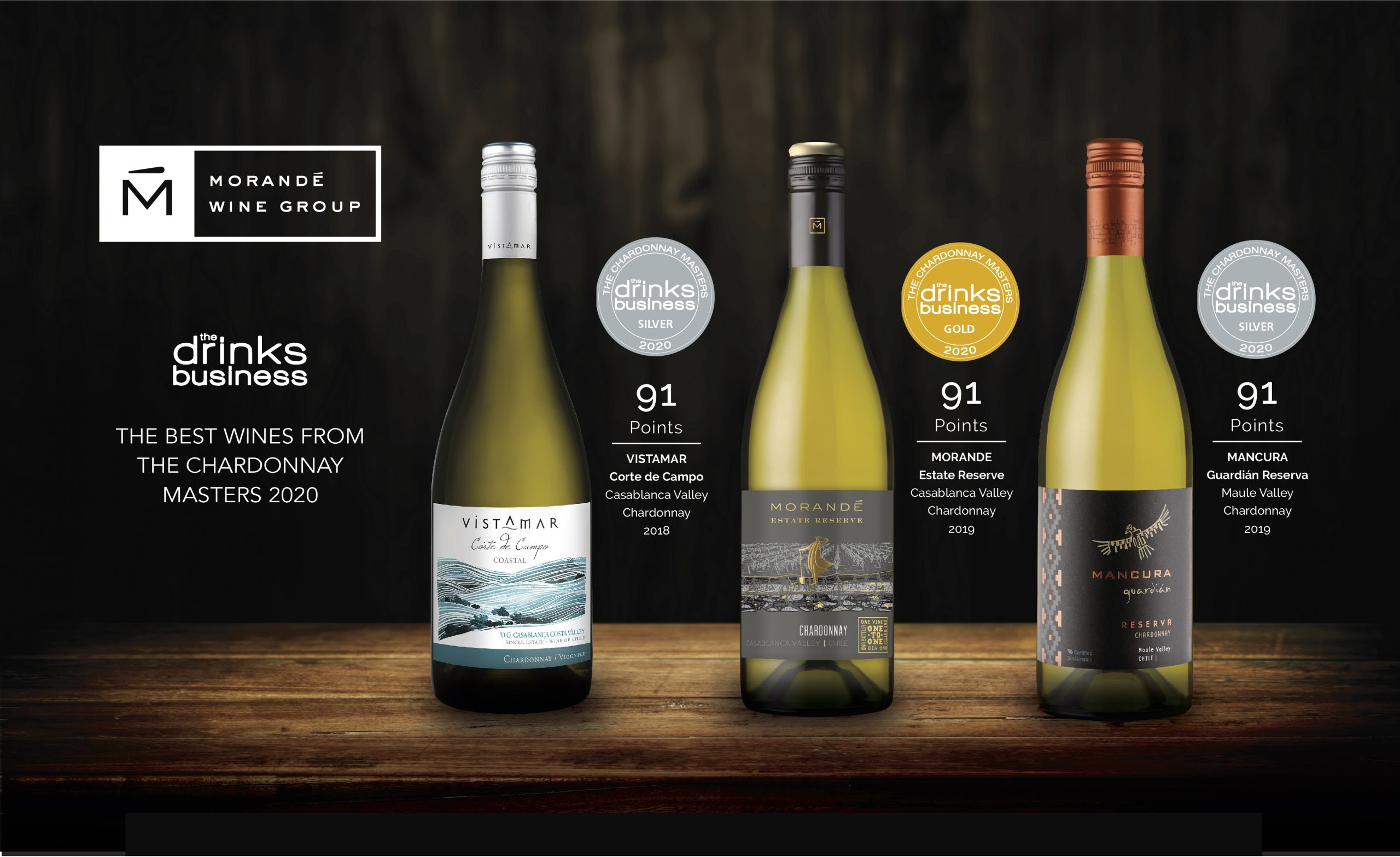 MORANDE WINE GROUP OBTIENE EXCELENTES PUNTAJES EN THE BEST WINES FROM THE CHARDONNAY MASTERS 2020